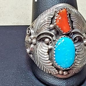 Sterling silver turquoise/coral native ring